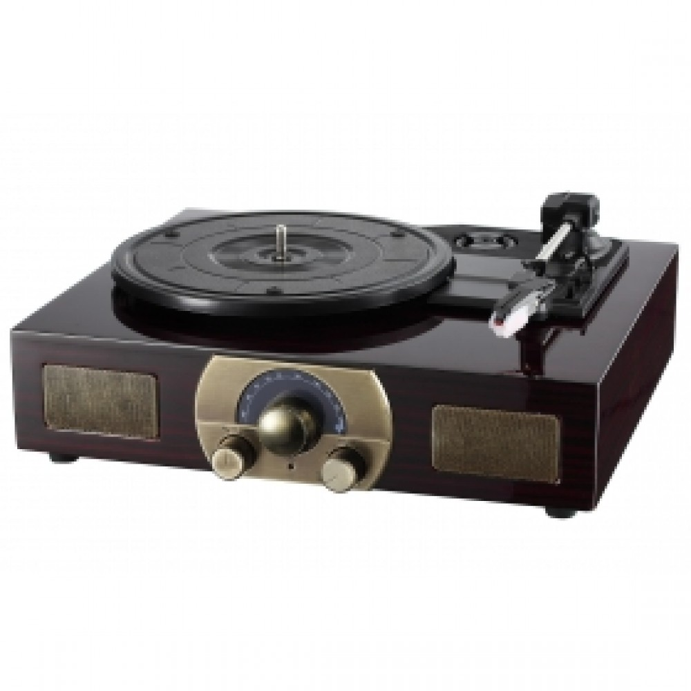 LuguLake Stereo 3-Speed Turntable With Built-In Bluetooth Speakers